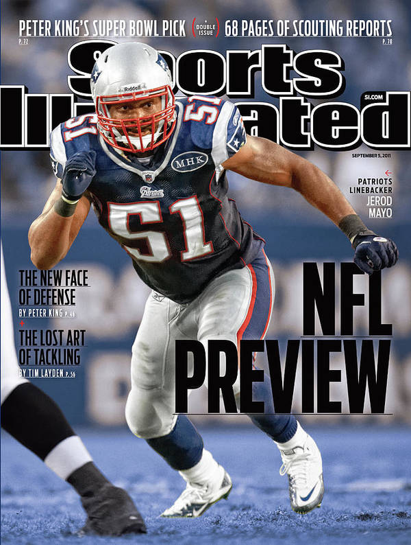 Magazine Cover Art Print featuring the photograph New England Patriots Jerod Mayo, 2011 Nfl Football Preview Sports Illustrated Cover by Sports Illustrated