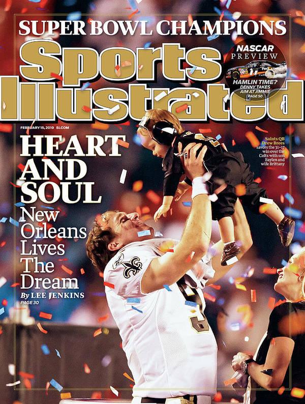 Magazine Cover Art Print featuring the photograph New Orleans Saints Qb Drew Brees, Super Bowl Xliv Sports Illustrated Cover by Sports Illustrated