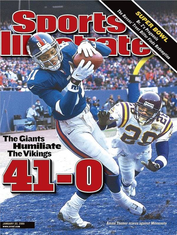 Magazine Cover Art Print featuring the photograph New York Giants Amani Toomer, 2001 Nfc Championship Sports Illustrated Cover by Sports Illustrated