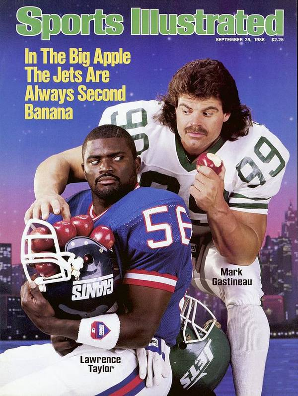 Magazine Cover Art Print featuring the photograph New York Giants Lawrence Taylor And New York Jets Mark Sports Illustrated Cover by Sports Illustrated