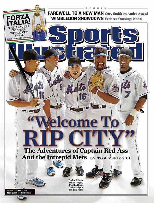 Magazine Cover Art Print featuring the photograph New York Mets Carlos Beltran, David Wright, Paul Lo Duca Sports Illustrated Cover by Sports Illustrated