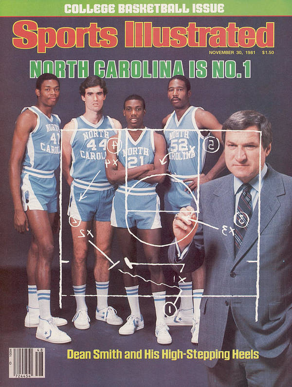 1980-1989 Art Print featuring the photograph North Carolina Coach Dean Smith And Team Sports Illustrated Cover by Sports Illustrated