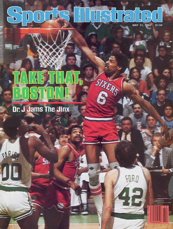Magazine Cover Art Print featuring the photograph Philadelphia 76ers Julius Erving, 1982 Nba Eastern Sports Illustrated Cover by Sports Illustrated