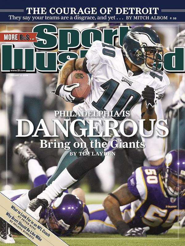 Hubert H. Humphrey Metrodome Art Print featuring the photograph Philadelphia Eagles Desean Jackson, 2009 Nfc Wild Card Sports Illustrated Cover by Sports Illustrated