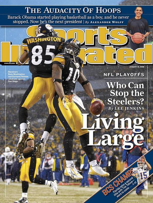 Magazine Cover Art Print featuring the photograph Pittsburgh Steelers Nate Washington And Santonio Holmes Sports Illustrated Cover by Sports Illustrated