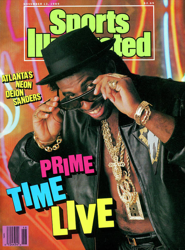 Atlanta Art Print featuring the photograph Prime Time Live Atlantas Neon Deion Sanders Sports Illustrated Cover by Sports Illustrated