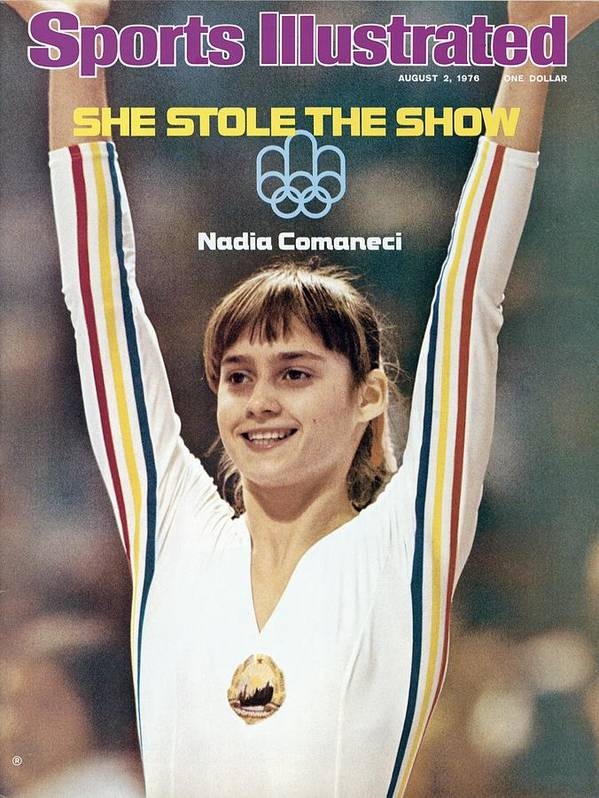 Magazine Cover Art Print featuring the photograph Romania Nadia Comaneci, 1976 Summer Olympics Sports Illustrated Cover by Sports Illustrated