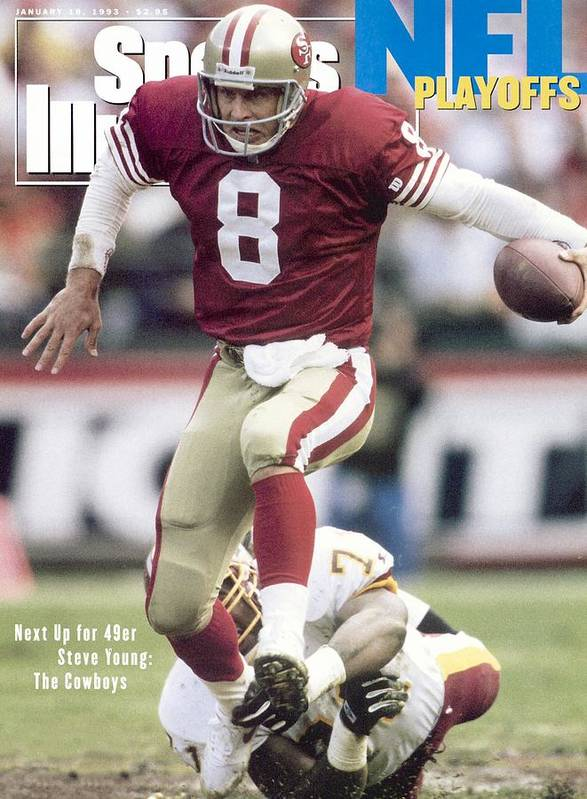 Magazine Cover Art Print featuring the photograph San Francisco 49ers Qb Steve Young, 1993 Nfc Divisional Sports Illustrated Cover by Sports Illustrated