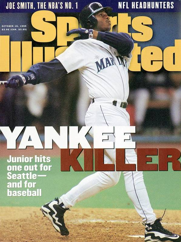 Magazine Cover Art Print featuring the photograph Seattle Mariners Ken Griffey Jr, 1995 Al Division Series Sports Illustrated Cover by Sports Illustrated