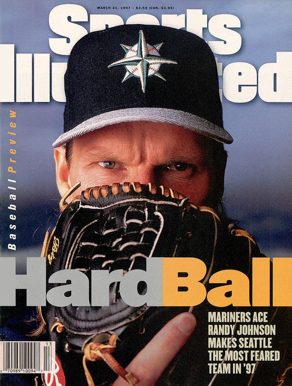 Magazine Cover Art Print featuring the photograph Seattle Mariners Randy Johnson, 1997 Mlb Baseball Preview Sports Illustrated Cover by Sports Illustrated