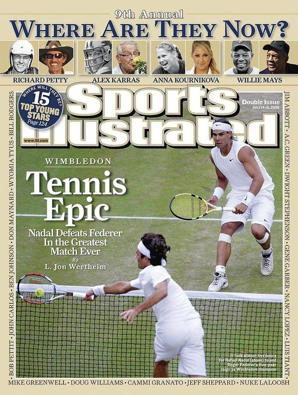 Magazine Cover Art Print featuring the photograph Spain Rafael Nadal And Switzerland Roger Federer, 2008 Sports Illustrated Cover by Sports Illustrated