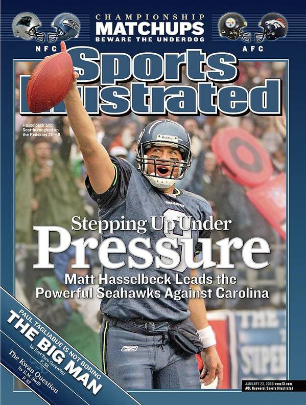 Magazine Cover Art Print featuring the photograph Stepping Up Under Pressure Matt Hasselbeck Leads The Sports Illustrated Cover by Sports Illustrated