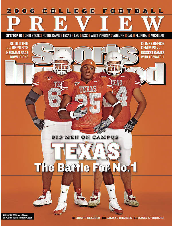 Sports Illustrated Art Print featuring the photograph Texas Jamaal Charles, Justin Blalock, And Kasey Studdard Sports Illustrated Cover by Sports Illustrated