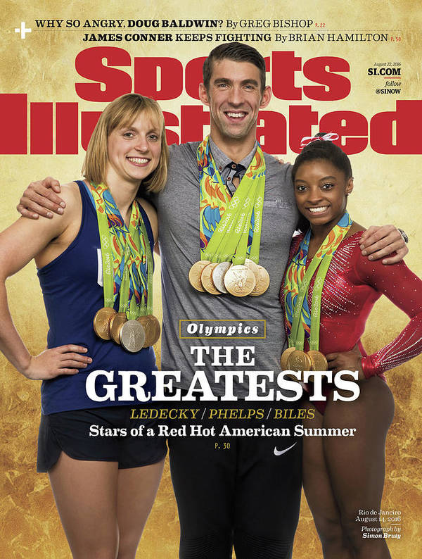 Magazine Cover Art Print featuring the photograph The Greatests Ledecky Phelps Biles Sports Illustrated Cover by Sports Illustrated