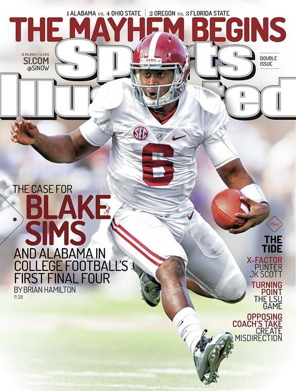 Magazine Cover Art Print featuring the photograph The Mayhem Begins The Case For Blake Sims And Alabama In Sports Illustrated Cover by Sports Illustrated