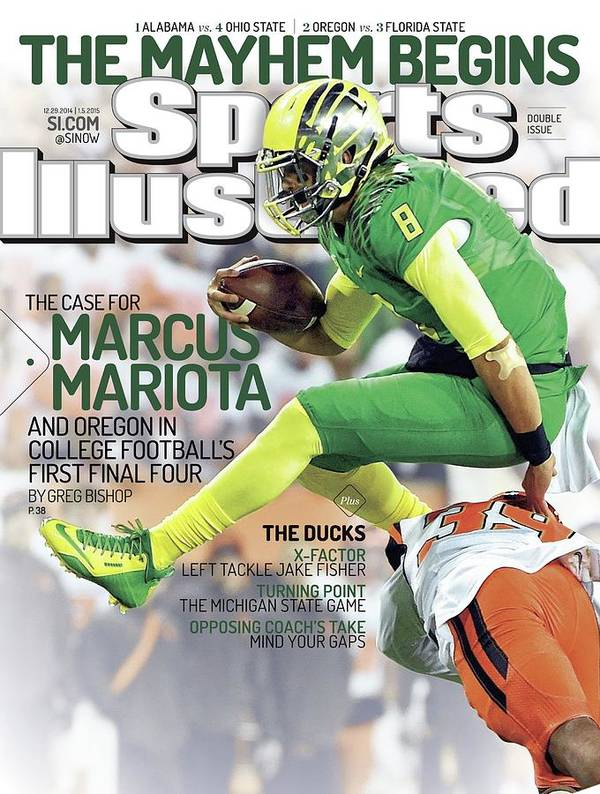 Magazine Cover Art Print featuring the photograph The Mayhem Begins The Case For Marcus Mariota And Oregon In Sports Illustrated Cover by Sports Illustrated