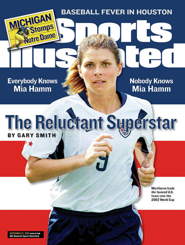 Magazine Cover Art Print featuring the photograph The Reluctant Superstar Everybody Knows Mia Hamm, Nobody Sports Illustrated Cover by Sports Illustrated