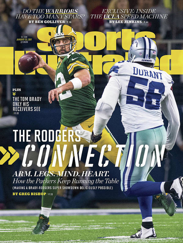 Playoffs Art Print featuring the photograph The Rodgers Connection Arm. Legs. Mind. Heart. Sports Illustrated Cover by Sports Illustrated