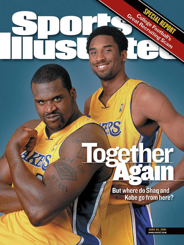 Nba Pro Basketball Art Print featuring the photograph Together Again But Where Do Shaq And Kobe Go From Here Sports Illustrated Cover by Sports Illustrated