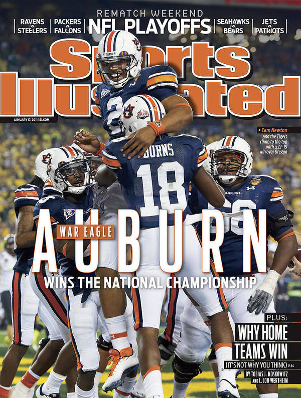 Magazine Cover Art Print featuring the photograph Tostitos Bcs National Championship Game - Oregon V Auburn Sports Illustrated Cover by Sports Illustrated