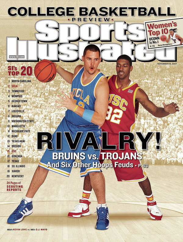 Season Art Print featuring the photograph Ucla Kevin Love And Usc O.j. Mayo, 2007 College Basketball Sports Illustrated Cover by Sports Illustrated