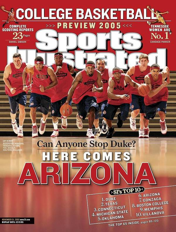 Mustafa Shakur Art Print featuring the photograph University Of Arizona Basketball Team Sports Illustrated Cover by Sports Illustrated