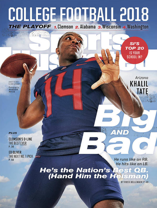 Magazine Cover Art Print featuring the photograph University Of Arizona Khalil Tate, 2018 College Football Sports Illustrated Cover by Sports Illustrated