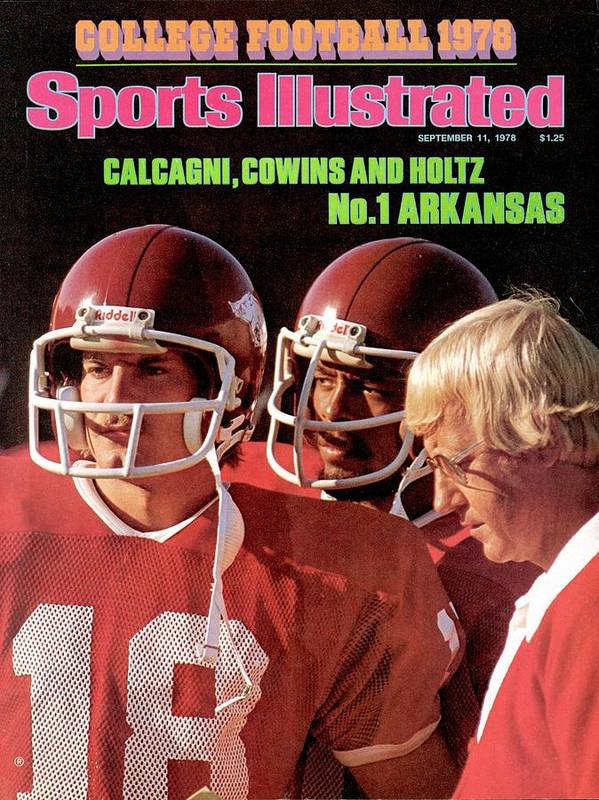 Season Art Print featuring the photograph University Of Arkansas Coach Lou Holtz, Qb Ron Calcagni Sports Illustrated Cover by Sports Illustrated