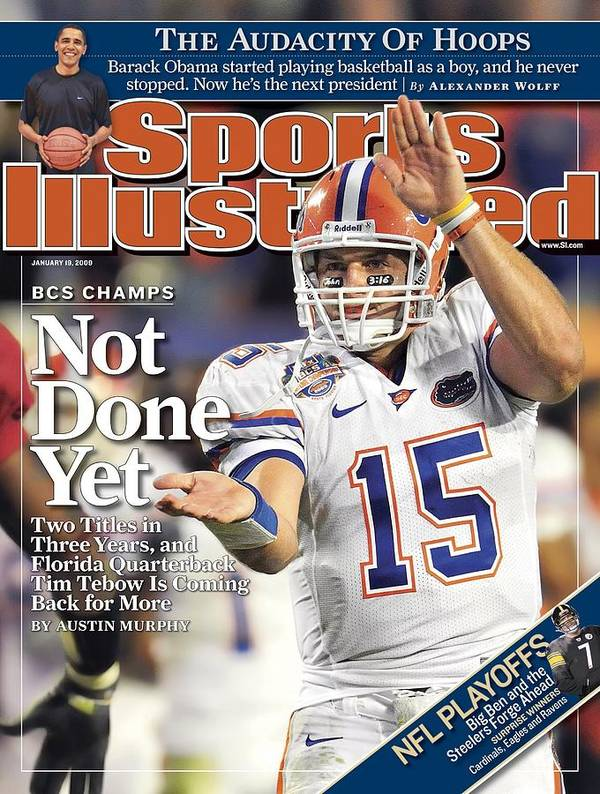 Magazine Cover Art Print featuring the photograph University Of Florida Florida Qb Tim Tebow, 2009 Fedex Bcs Sports Illustrated Cover by Sports Illustrated