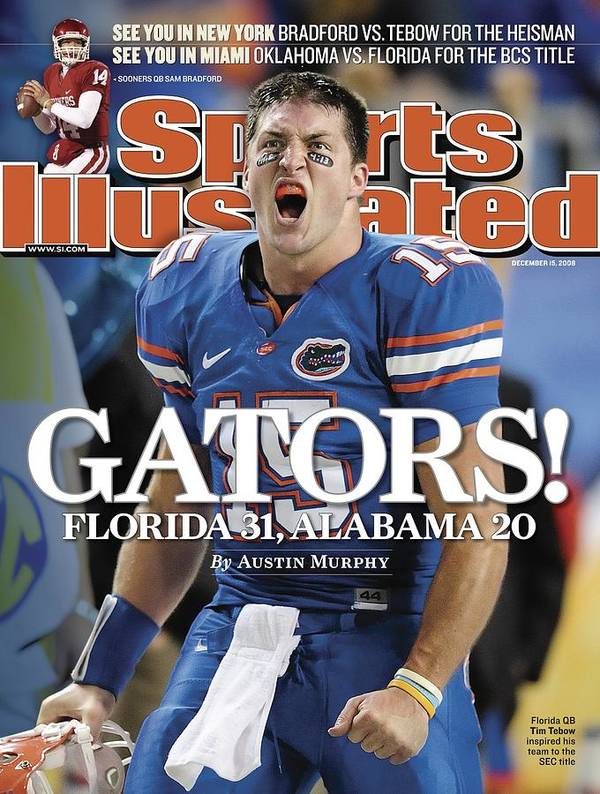 Magazine Cover Art Print featuring the photograph University Of Florida Qb Tim Tebow, 2008 Sec Championship Sports Illustrated Cover by Sports Illustrated
