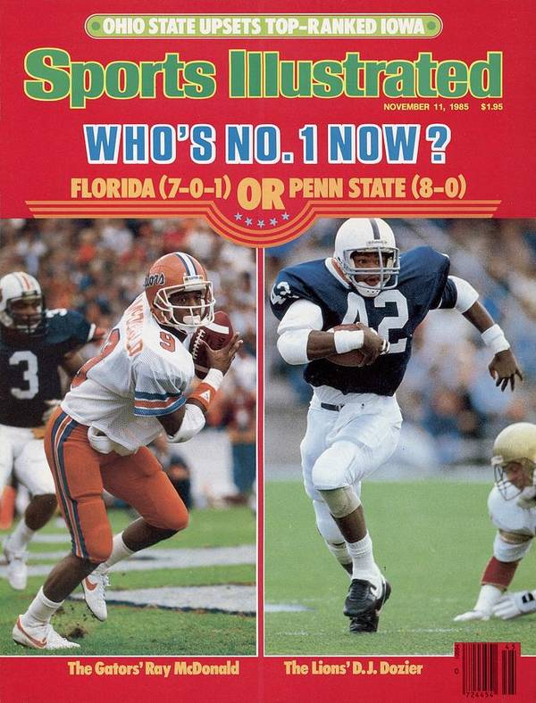 Magazine Cover Art Print featuring the photograph University Of Florida Ray Mcdonald And Penn State D.j Sports Illustrated Cover by Sports Illustrated