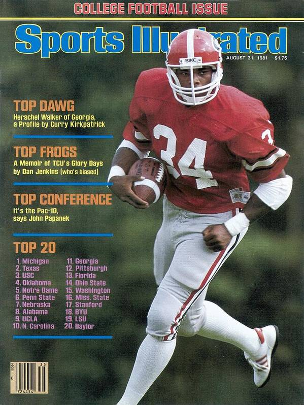 Magazine Cover Art Print featuring the photograph University Of Georgia Herschel Walker Sports Illustrated Cover by Sports Illustrated