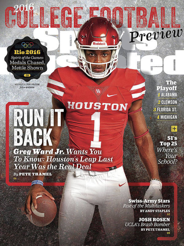 Magazine Cover Art Print featuring the photograph University Of Houston Greg Ward Jr., 2016 College Football Sports Illustrated Cover by Sports Illustrated