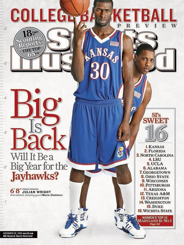 Magazine Cover Art Print featuring the photograph University Of Kansas Julian Wright And Mario Chalmers Sports Illustrated Cover by Sports Illustrated