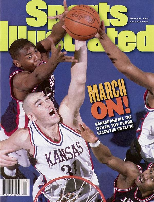 Playoffs Art Print featuring the photograph University Of Kansas Scot Pollard, 1997 Ncaa Southeast Sports Illustrated Cover by Sports Illustrated