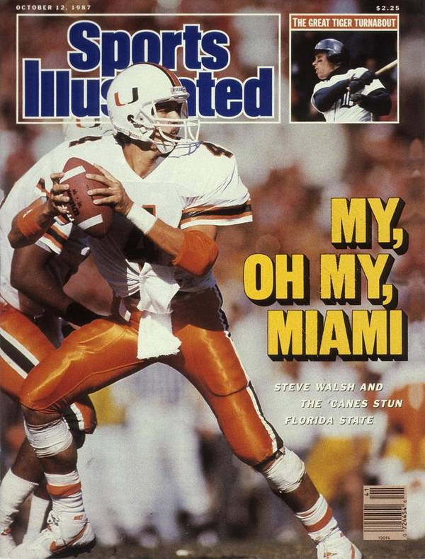 1980-1989 Art Print featuring the photograph University Of Miami Qb Steve Walsh Sports Illustrated Cover by Sports Illustrated