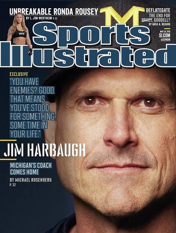 Magazine Cover Art Print featuring the photograph University Of Michigan Coach Jim Harbaugh Sports Illustrated Cover by Sports Illustrated