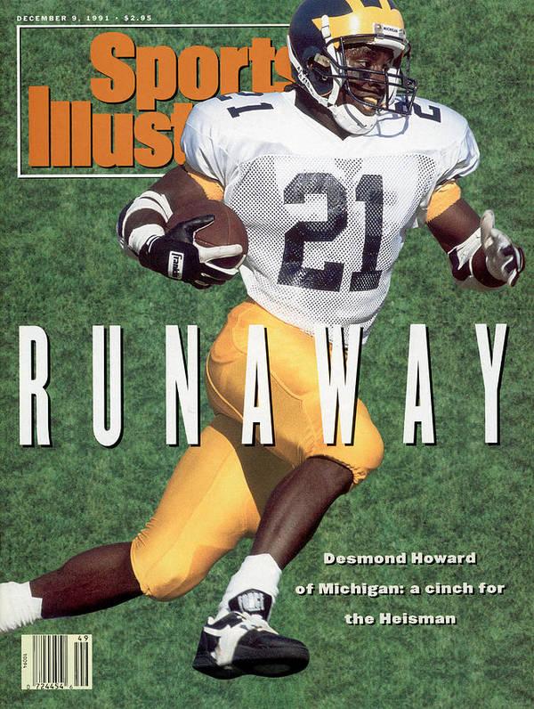 Magazine Cover Art Print featuring the photograph University Of Michigan Desmond Howard Sports Illustrated Cover by Sports Illustrated