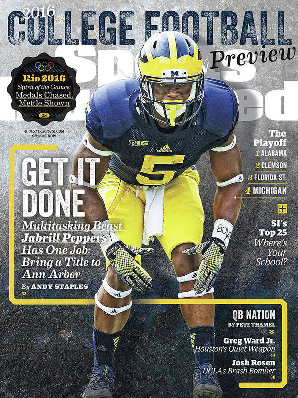 Magazine Cover Art Print featuring the photograph University Of Michigan Jabrill Peppers, 2016 College Sports Illustrated Cover by Sports Illustrated
