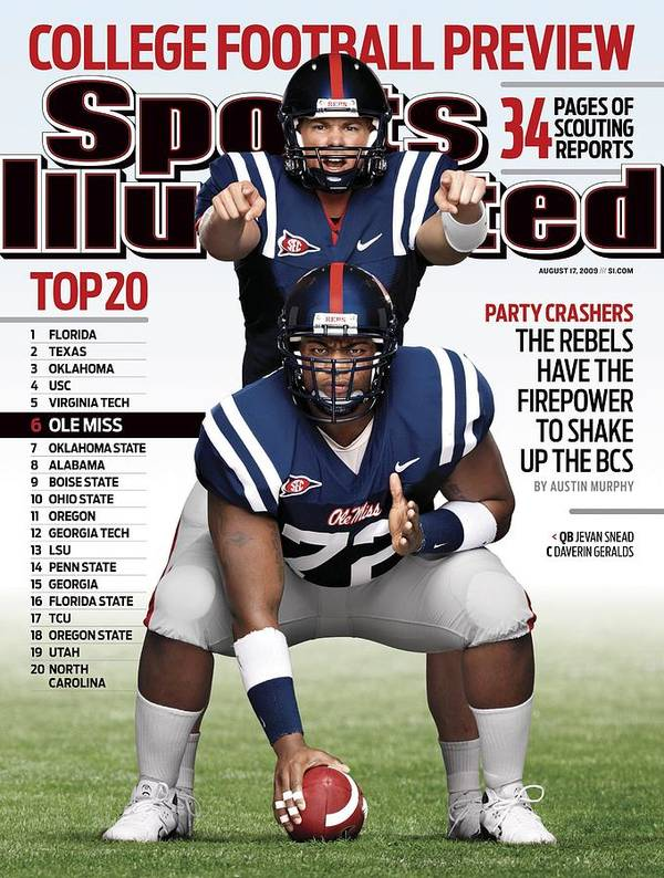 Built Structure Art Print featuring the photograph University Of Mississippi Qb Jevan Snead And Daverin Sports Illustrated Cover by Sports Illustrated