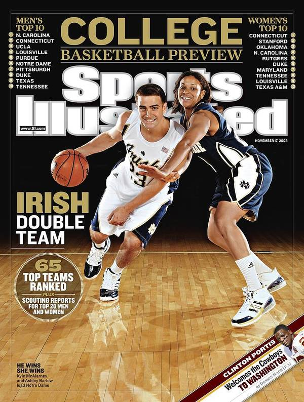 Magazine Cover Art Print featuring the photograph University Of Notre Dame Kyle Mcalarney And Ashley Barlow Sports Illustrated Cover by Sports Illustrated