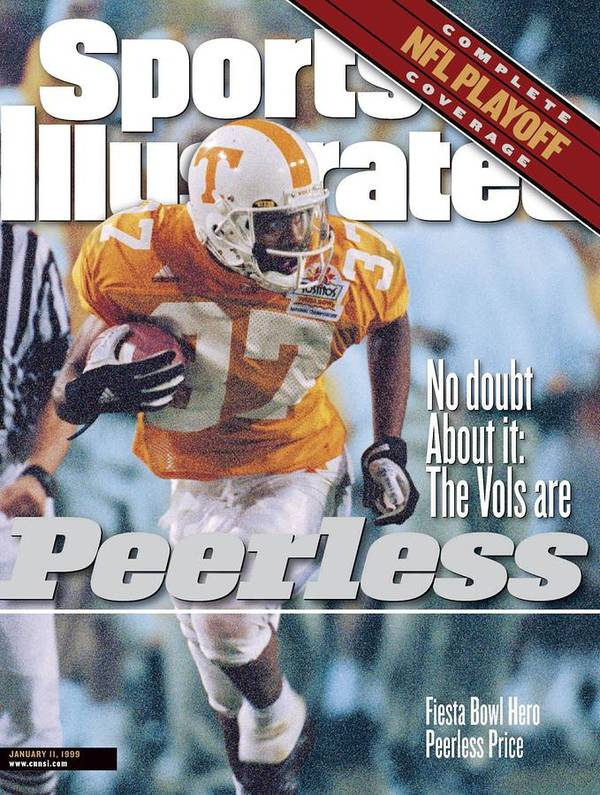 Celebration Art Print featuring the photograph University Of Tennessee Peerless Price, 1999 Tostitos Sports Illustrated Cover by Sports Illustrated