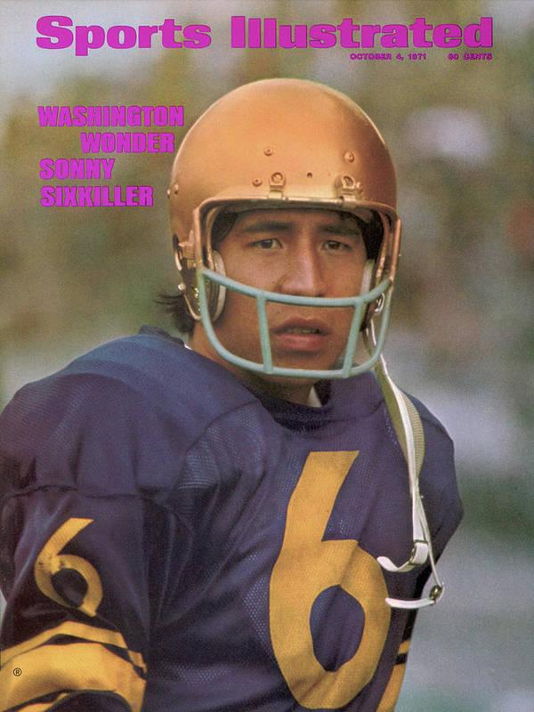 Magazine Cover Art Print featuring the photograph University Of Washington Qb Sonny Sixkiller Sports Illustrated Cover by Sports Illustrated