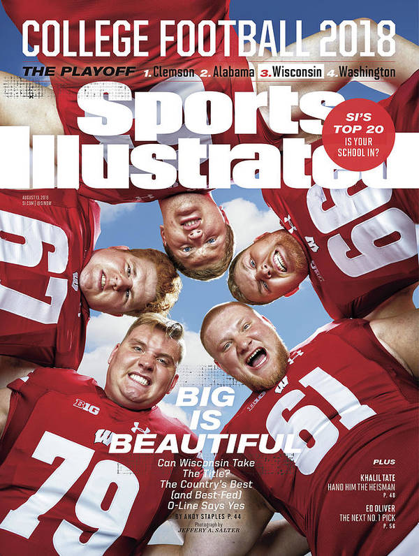 Season Art Print featuring the photograph University Of Wisconsin Offensive Line, 2018 College Sports Illustrated Cover by Sports Illustrated
