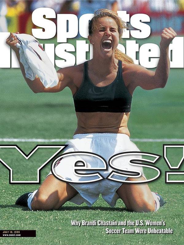 Magazine Cover Art Print featuring the photograph Usa Brandi Chastain, 1999 Womens World Cup Final Sports Illustrated Cover by Sports Illustrated