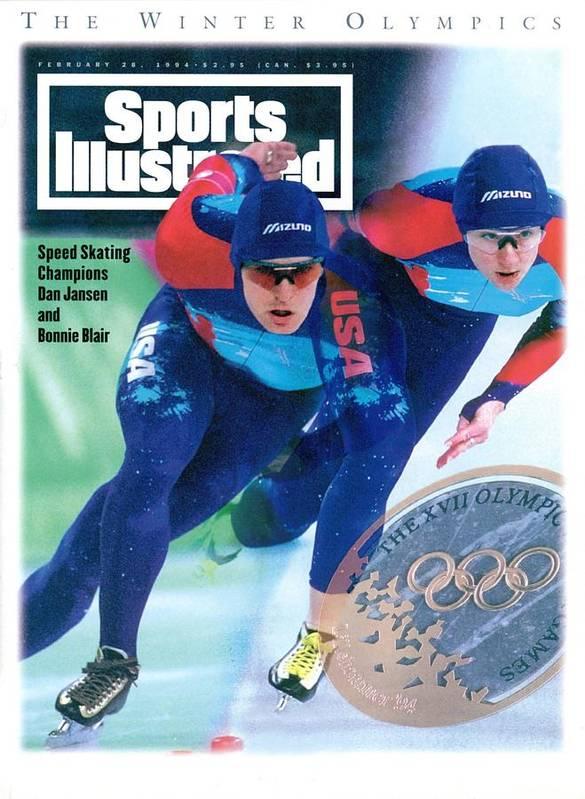 Magazine Cover Art Print featuring the photograph Usa Dan Jansen And Bonnie Blair, 1994 Winter Olympics Sports Illustrated Cover by Sports Illustrated