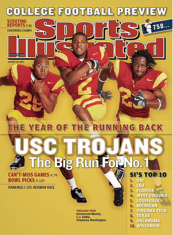 Magazine Cover Art Print featuring the photograph Usc Emmanuel Moody, C.j. Gable, And Chauncey Washington Sports Illustrated Cover by Sports Illustrated