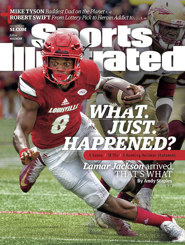 Sports Illustrated Art Print featuring the photograph What. Just. Happened Lamar Jackson Arrived, Thats What Sports Illustrated Cover by Sports Illustrated