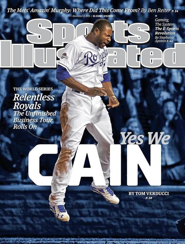 Magazine Cover Art Print featuring the photograph Yes We Cain 2015 World Series Preview Issue Sports Illustrated Cover by Sports Illustrated