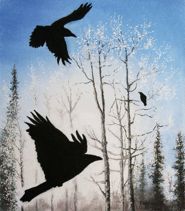 Raven Art Print featuring the painting Fire In The Sky by Stanza Widen